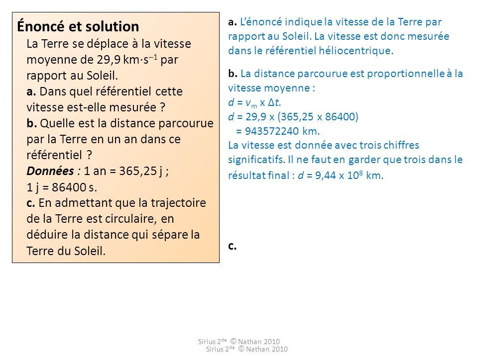 Énoncé et solution La Terre se déplace à la vitesse moyenne de 29,9 km·s–1 par rapport au Soleil. a. Dans quel référentiel cette vitesse est-elle mesurée b. Quelle est la distance parcourue par la Terre en un an dans ce référentiel Données : 1 an = 365,25 j ; 1 j = 86400 s. c. En admettant que la trajectoire de la Terre est circulaire, en déduire la distance qui sépare la Terre du Soleil.