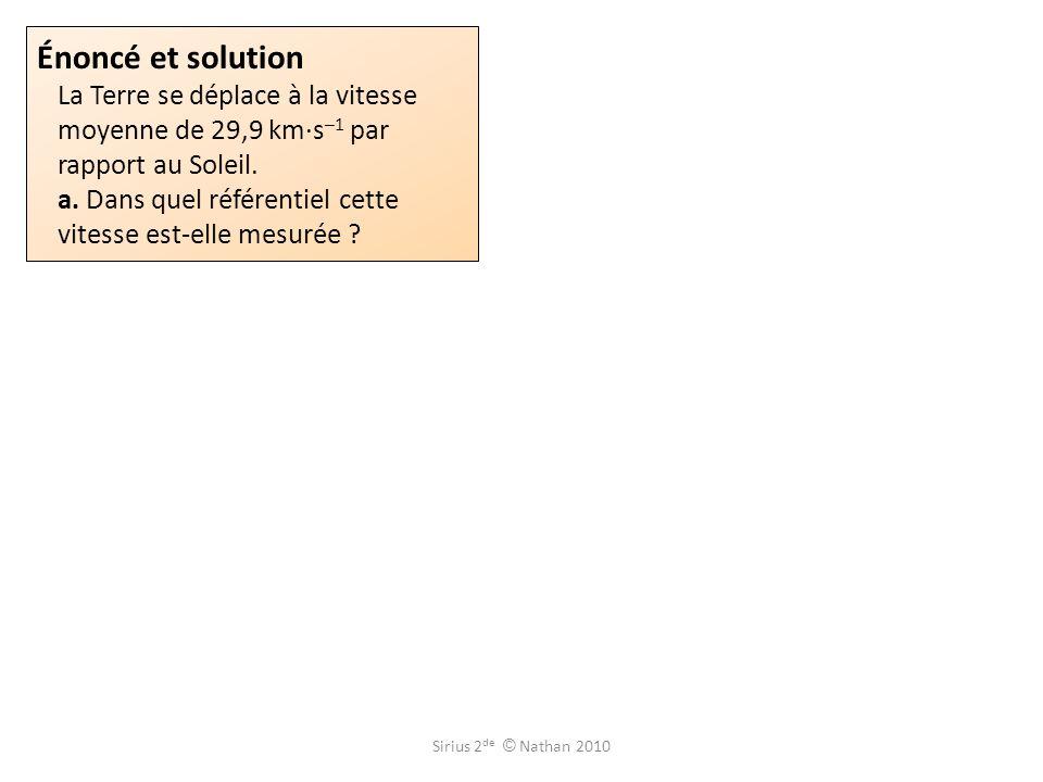 Énoncé et solution La Terre se déplace à la vitesse moyenne de 29,9 km·s–1 par rapport au Soleil. a. Dans quel référentiel cette vitesse est-elle mesurée