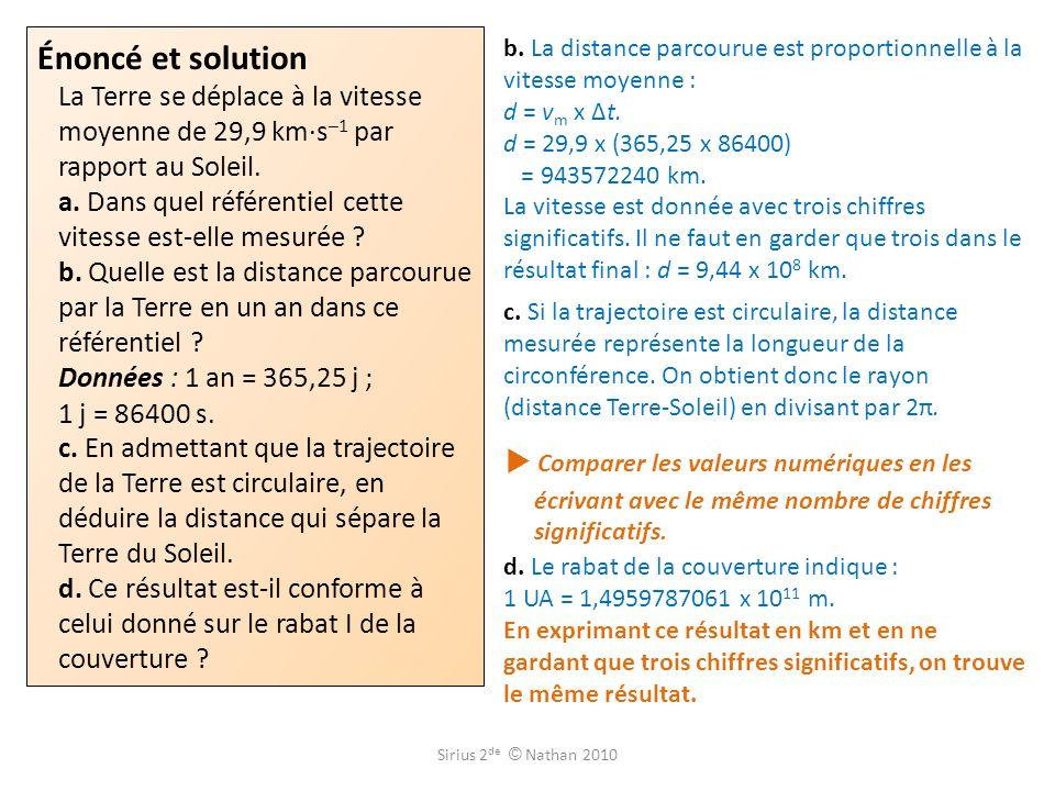 Énoncé et solution La Terre se déplace à la vitesse moyenne de 29,9 km·s–1 par rapport au Soleil. a. Dans quel référentiel cette vitesse est-elle mesurée b. Quelle est la distance parcourue par la Terre en un an dans ce référentiel Données : 1 an = 365,25 j ; 1 j = 86400 s. c. En admettant que la trajectoire de la Terre est circulaire, en déduire la distance qui sépare la Terre du Soleil. d. Ce résultat est-il conforme à celui donné sur le rabat I de la couverture
