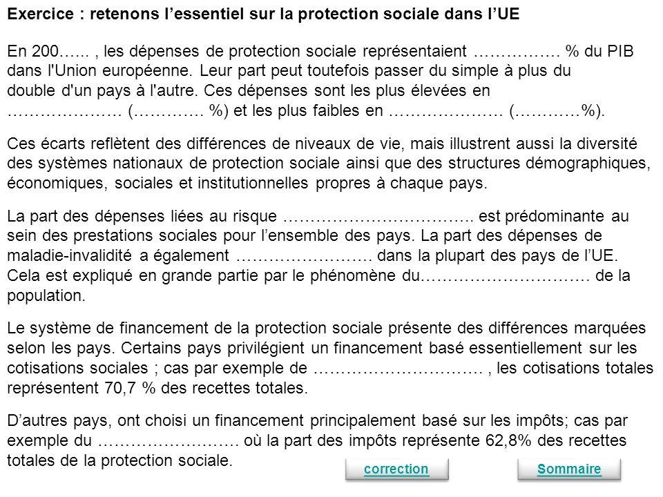 Exercice : retenons l'essentiel sur la protection sociale dans l'UE