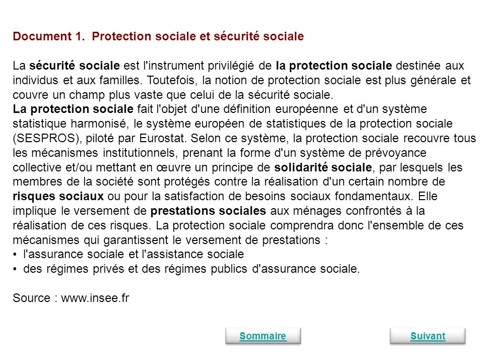 Document 1. Protection sociale et sécurité sociale