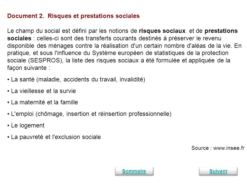 Document 2. Risques et prestations sociales