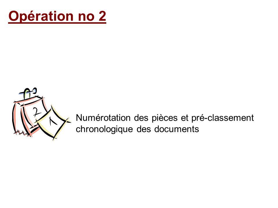 Opération no 2 Numérotation des pièces et pré-classement chronologique des documents