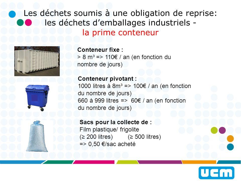 Les déchets soumis à une obligation de reprise: les déchets d'emballages industriels - la prime conteneur