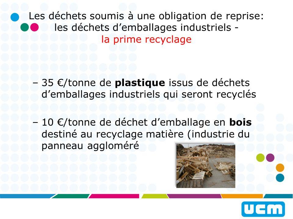 Les déchets soumis à une obligation de reprise: les déchets d'emballages industriels - la prime recyclage