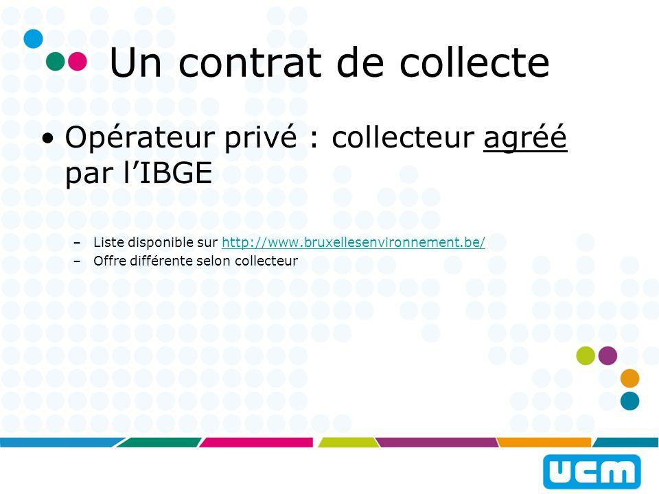 Un contrat de collecte Opérateur privé : collecteur agréé par l'IBGE