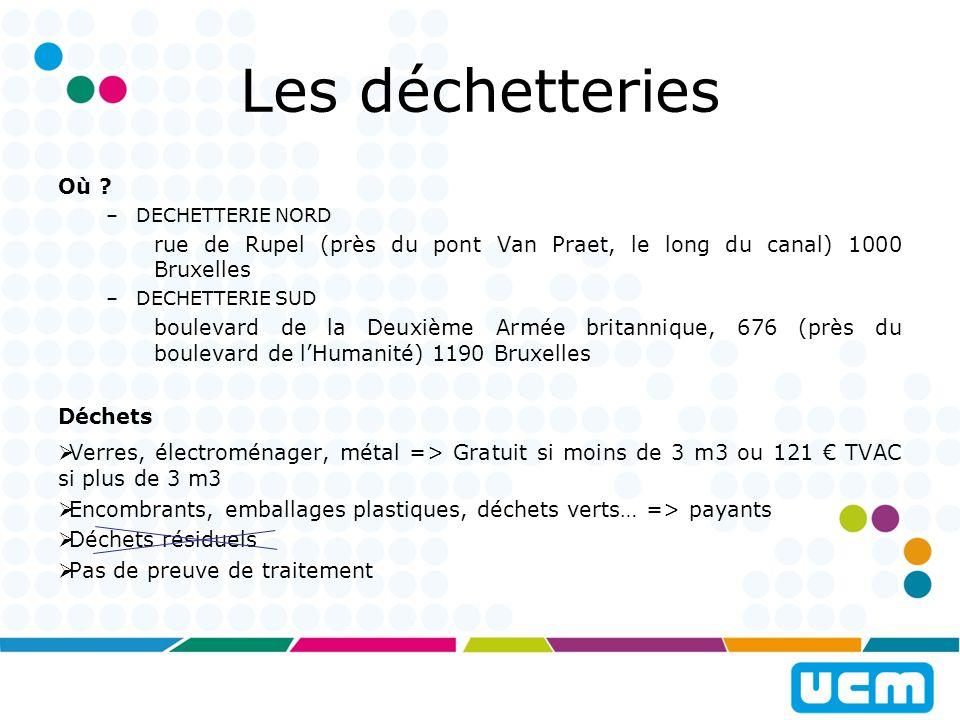 Les déchetteries Où DECHETTERIE NORD. rue de Rupel (près du pont Van Praet, le long du canal) 1000 Bruxelles.