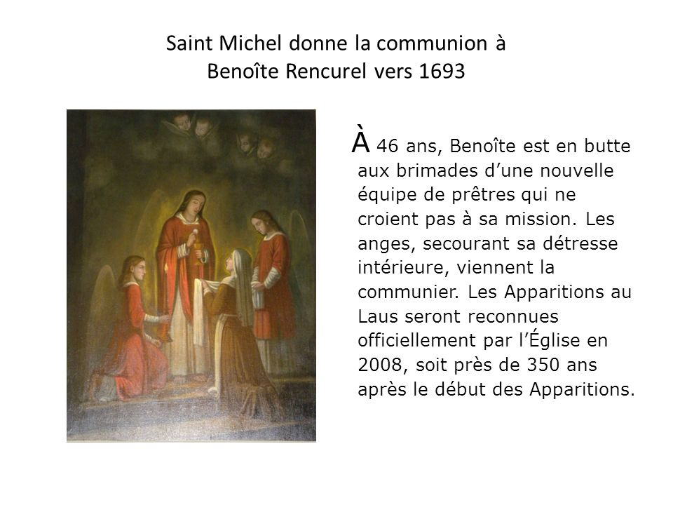 Saint Michel donne la communion à Benoîte Rencurel vers 1693