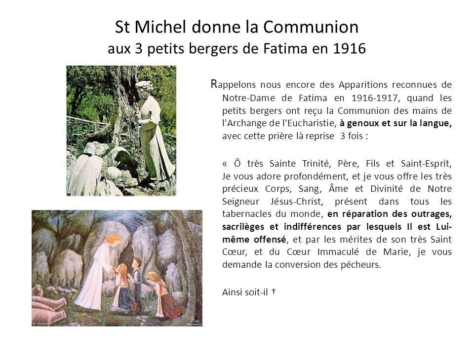 St Michel donne la Communion aux 3 petits bergers de Fatima en 1916