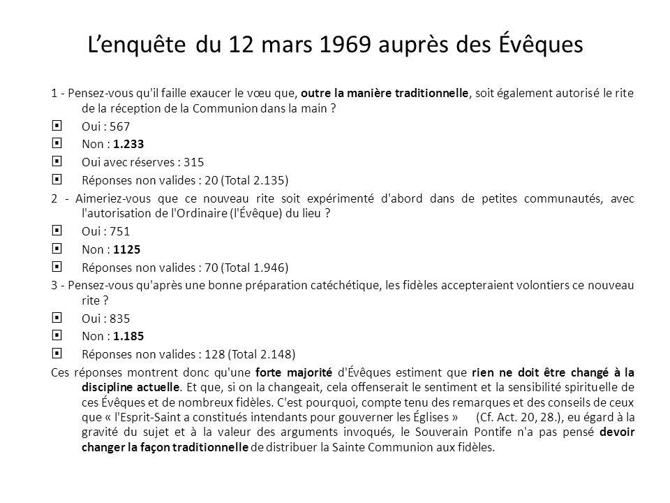 L'enquête du 12 mars 1969 auprès des Évêques