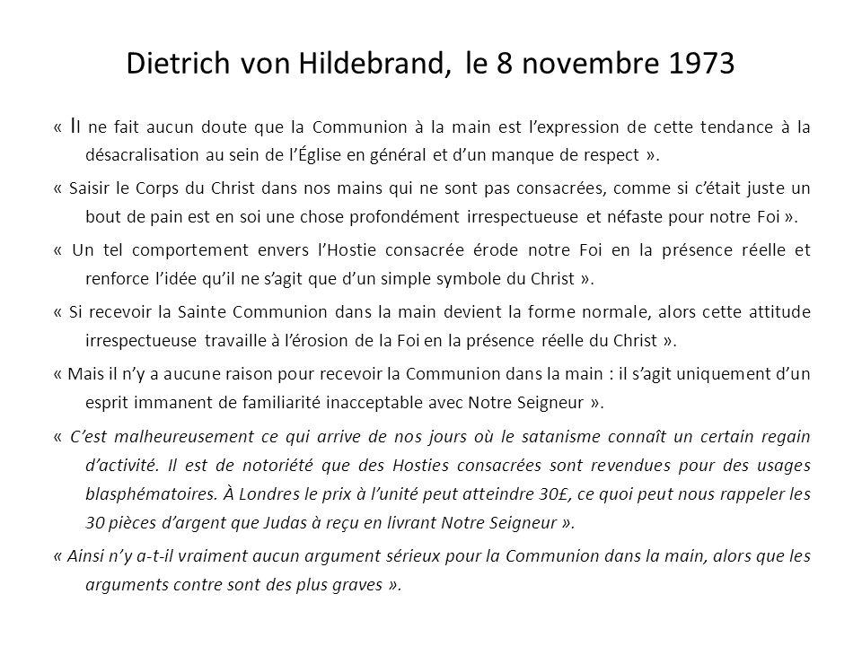 Dietrich von Hildebrand, le 8 novembre 1973
