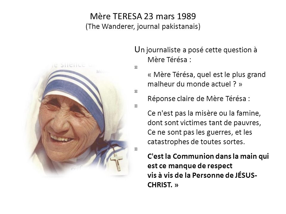 Mère TERESA 23 mars 1989 (The Wanderer, journal pakistanais)