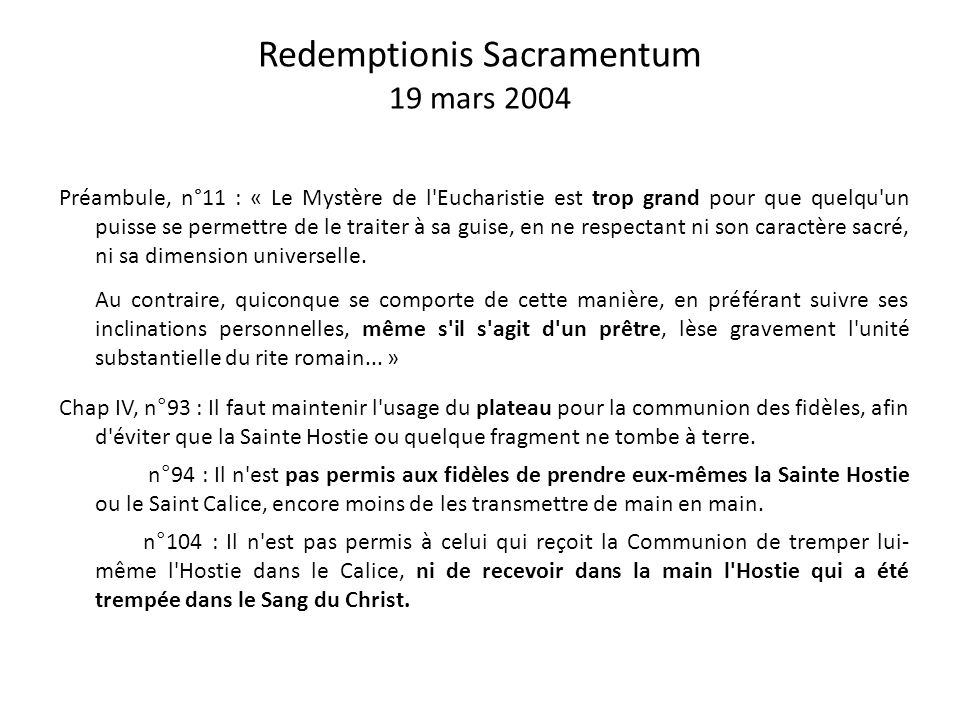 Redemptionis Sacramentum 19 mars 2004