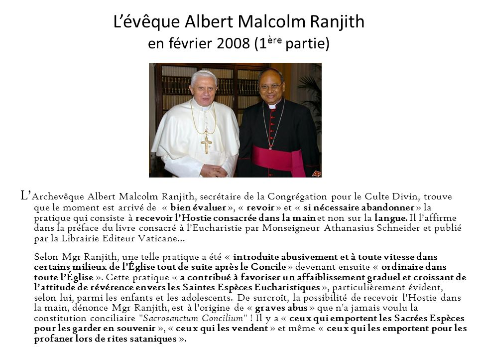 L'évêque Albert Malcolm Ranjith en février 2008 (1ère partie)