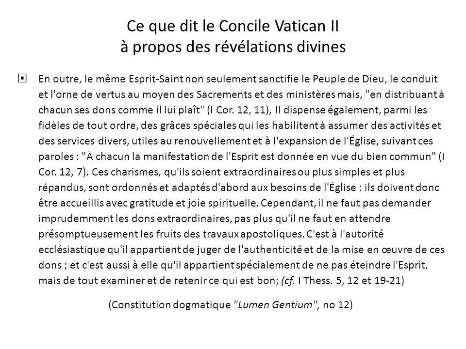 Ce que dit le Concile Vatican II à propos des révélations divines