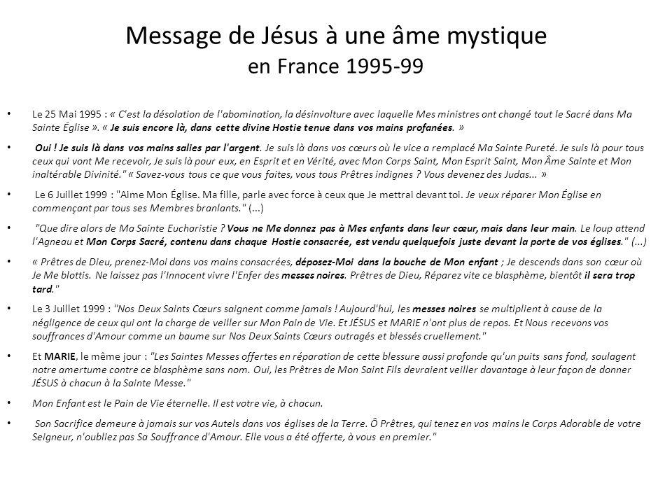 Message de Jésus à une âme mystique en France 1995-99