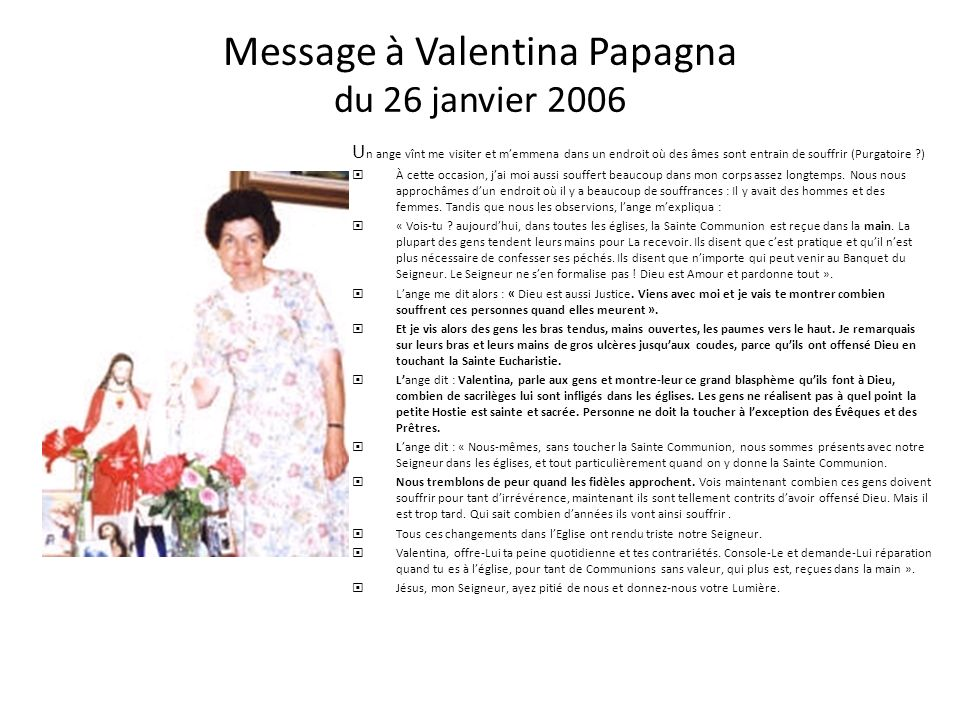 Message à Valentina Papagna du 26 janvier 2006