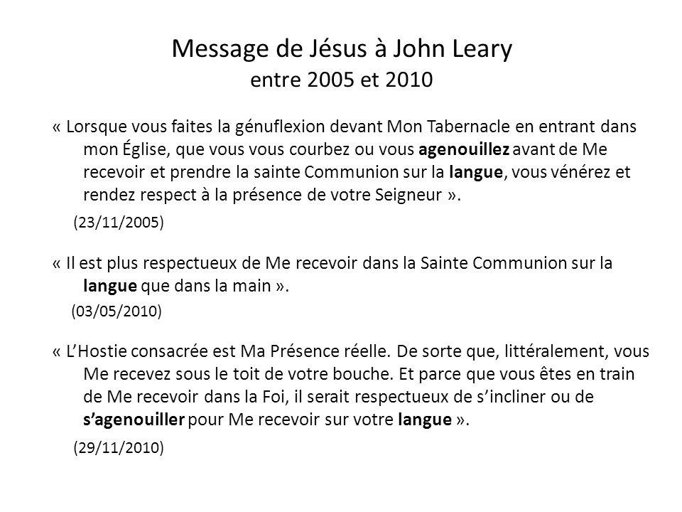 Message de Jésus à John Leary entre 2005 et 2010