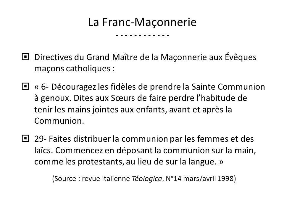 La Franc-Maçonnerie - - - - - - - - - - - -
