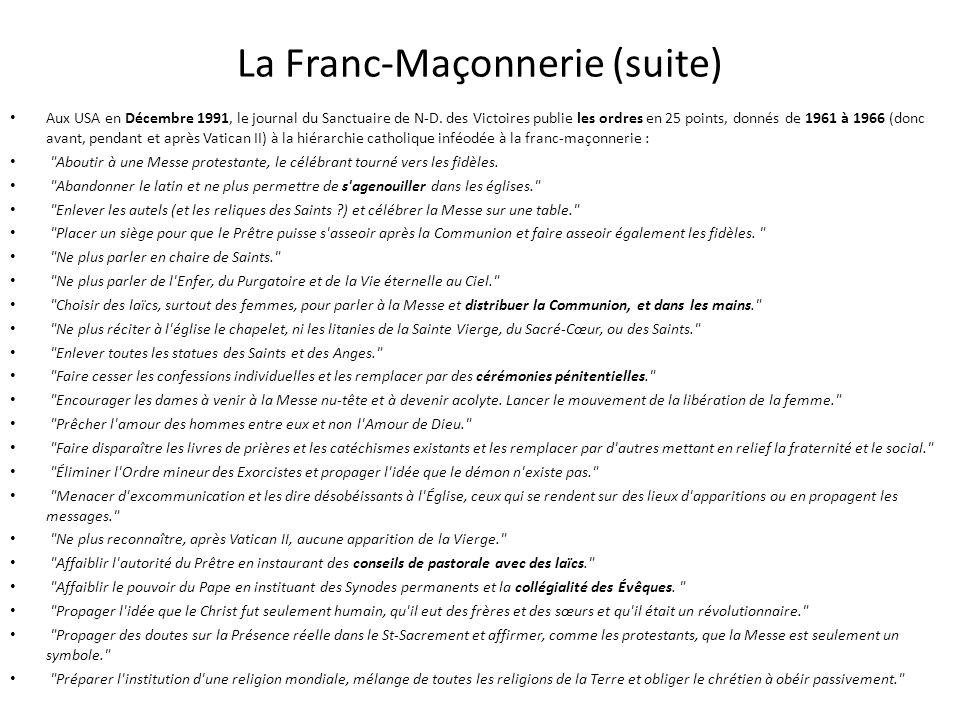 La Franc-Maçonnerie (suite)