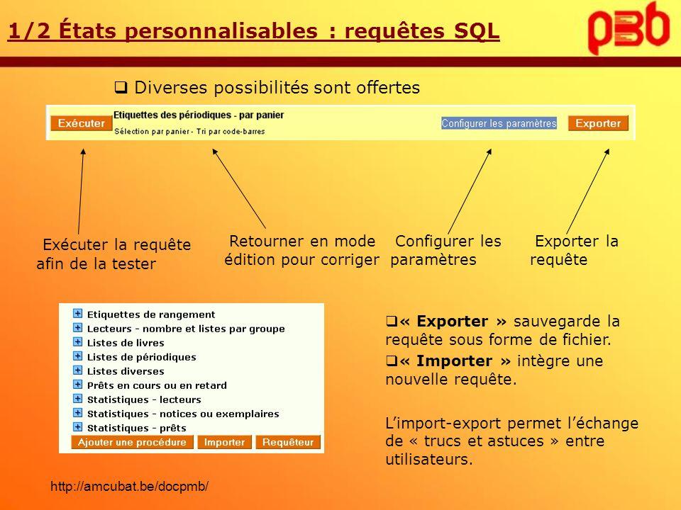 1/2 États personnalisables : requêtes SQL