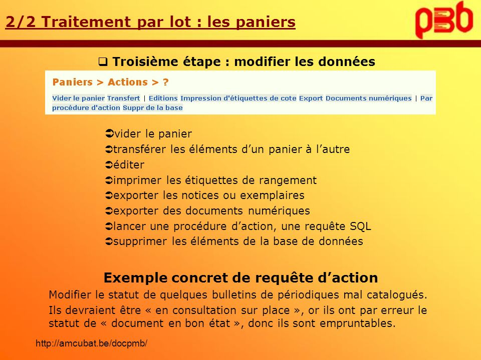 Exemple concret de requête d'action