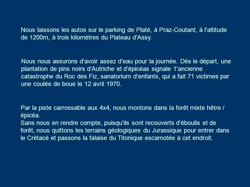 Nous laissons les autos sur le parking de Platé, à Praz-Coutant, à l'altitude de 1200m, à trois kilomètres du Plateau d'Assy.