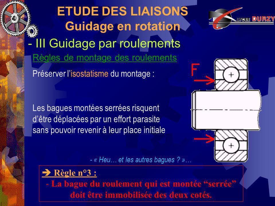 ETUDE DES LIAISONS Guidage en rotation
