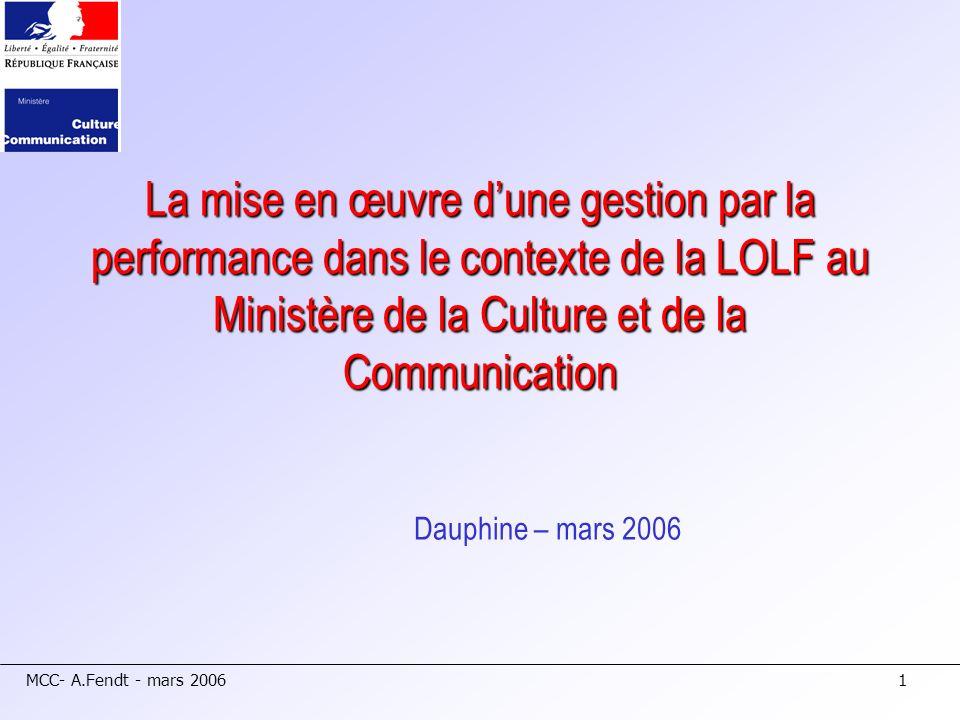 La mise en œuvre d'une gestion par la performance dans le contexte de la LOLF au Ministère de la Culture et de la Communication