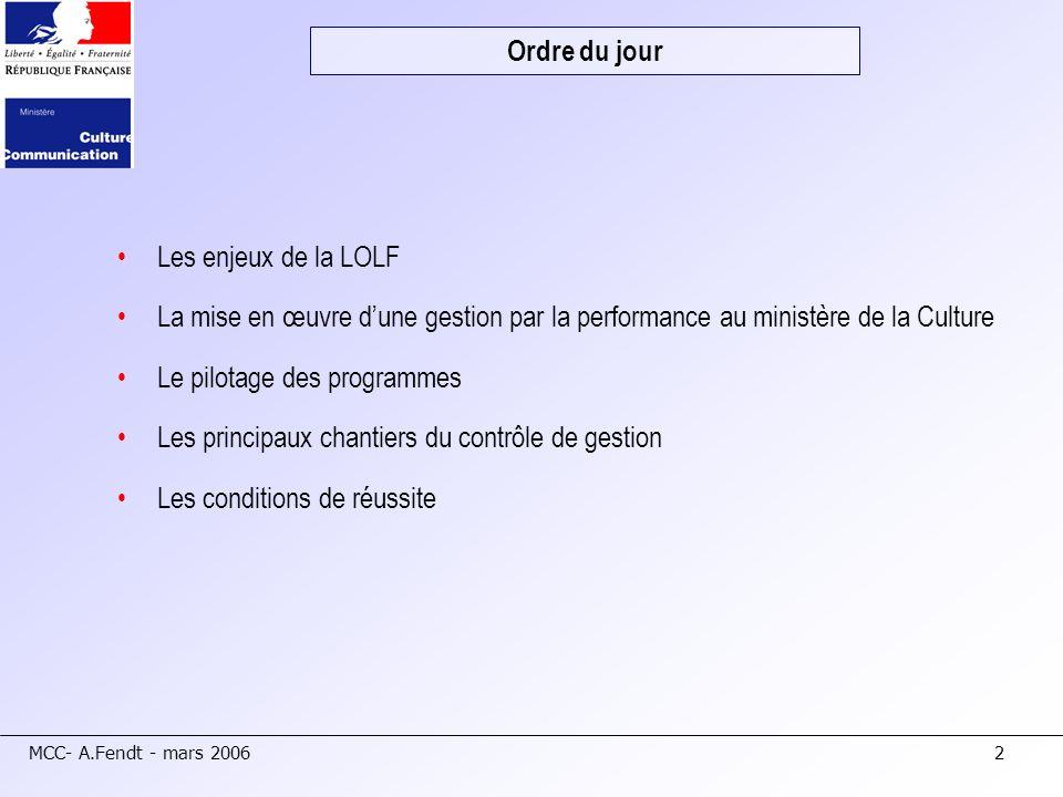 Ordre du jour Les enjeux de la LOLF. La mise en œuvre d'une gestion par la performance au ministère de la Culture.
