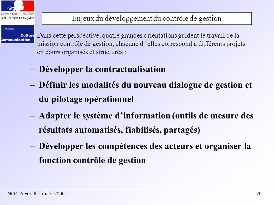 Enjeux du développement du contrôle de gestion