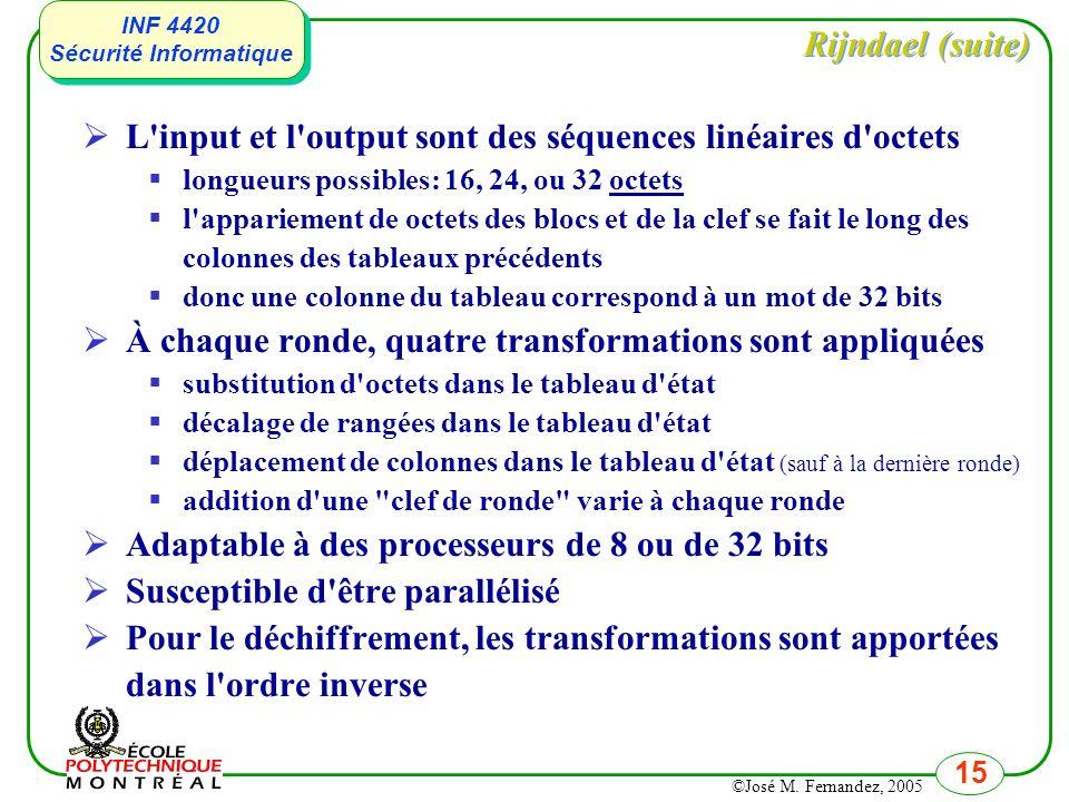 L input et l output sont des séquences linéaires d octets