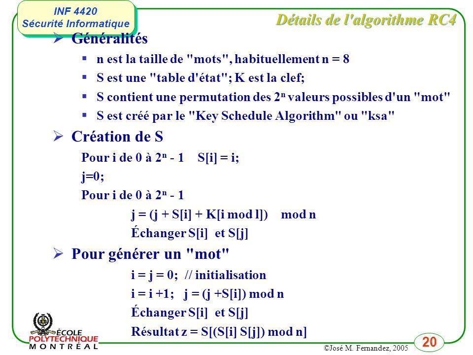 Détails de l algorithme RC4