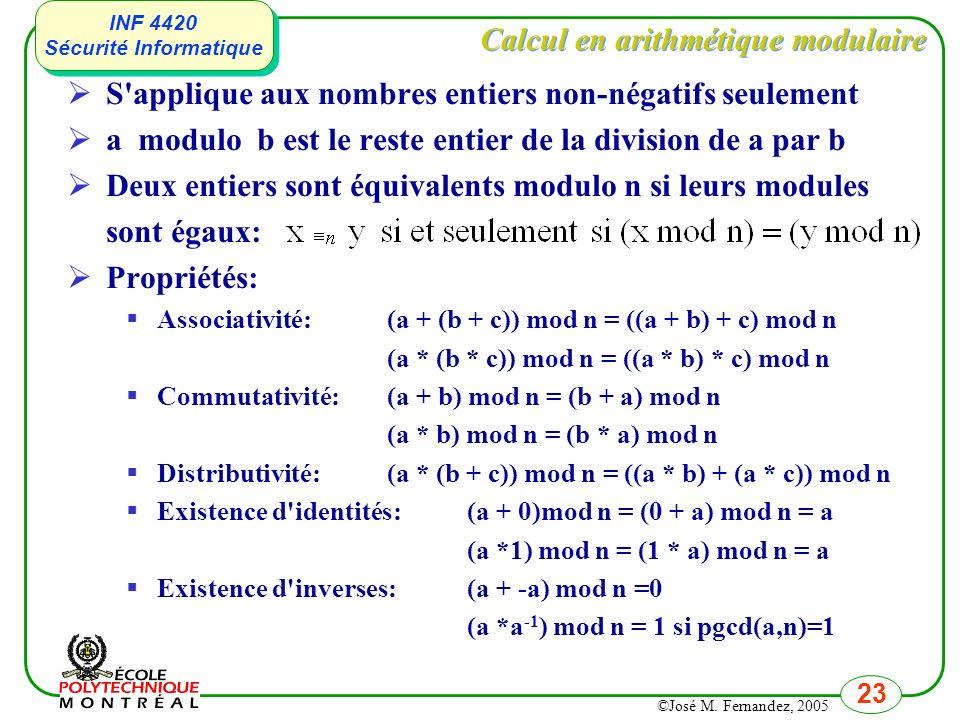 Calcul en arithmétique modulaire