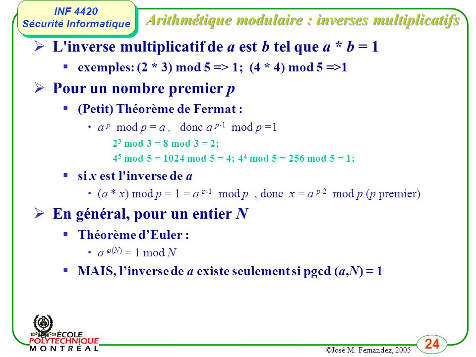 Arithmétique modulaire : inverses multiplicatifs