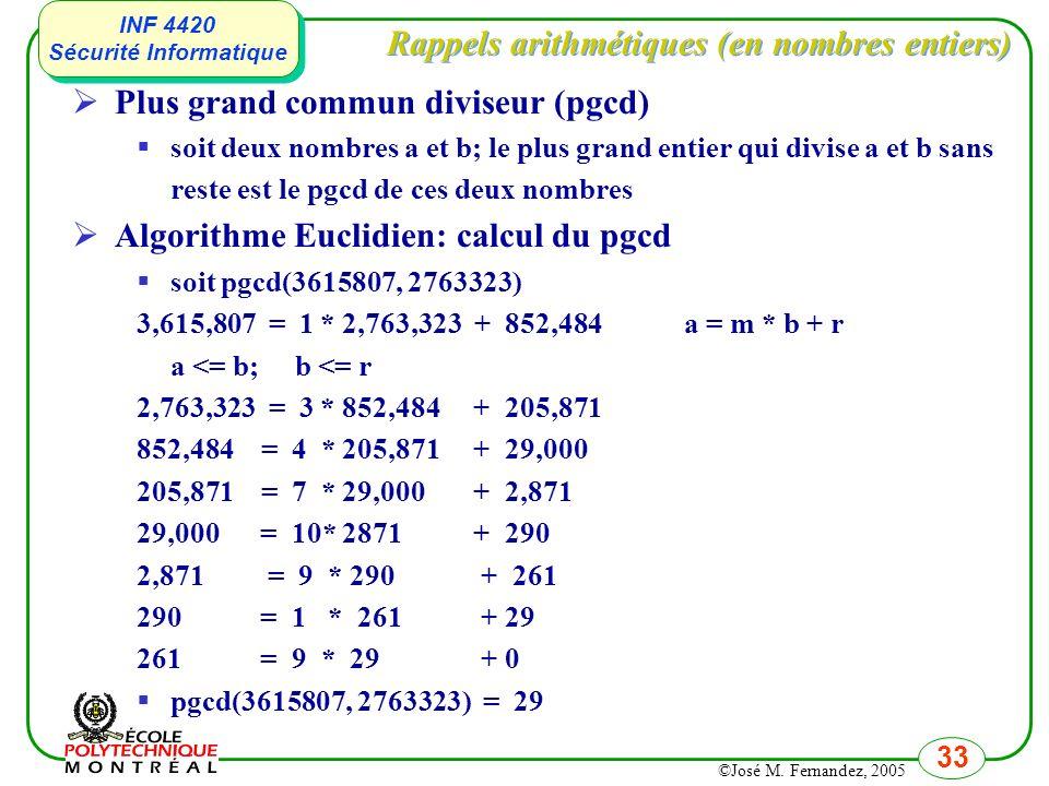 Rappels arithmétiques (en nombres entiers)