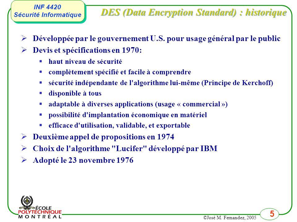 DES (Data Encryption Standard) : historique