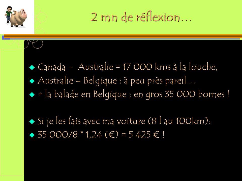 2 mn de réflexion… Canada - Australie = 17 000 kms à la louche,