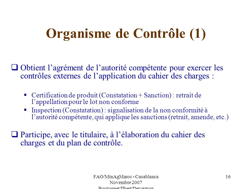 Organisme de Contrôle (1)