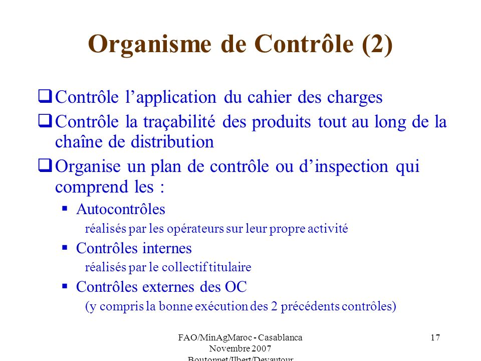 Organisme de Contrôle (2)