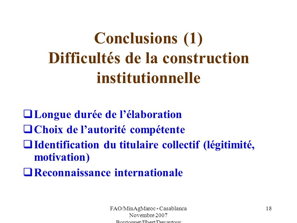 Conclusions (1) Difficultés de la construction institutionnelle