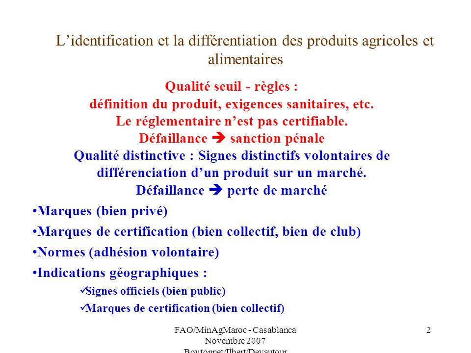 L'identification et la différentiation des produits agricoles et alimentaires