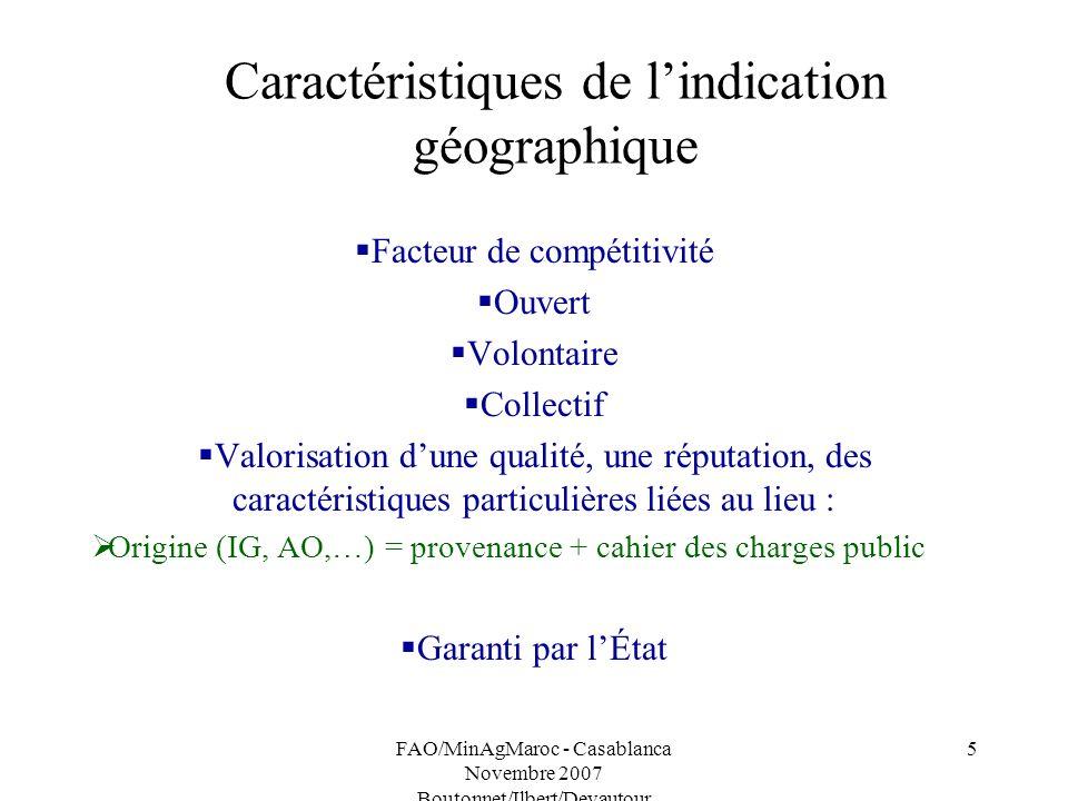 Caractéristiques de l'indication géographique