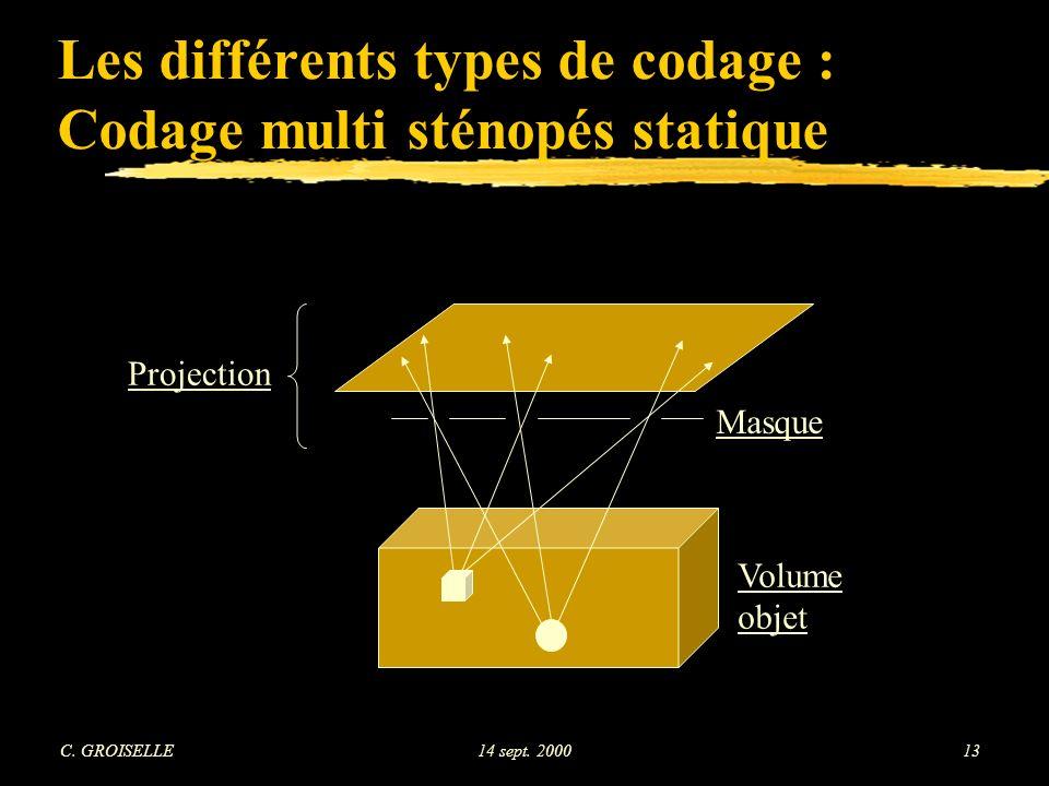 Les différents types de codage : Codage multi sténopés statique
