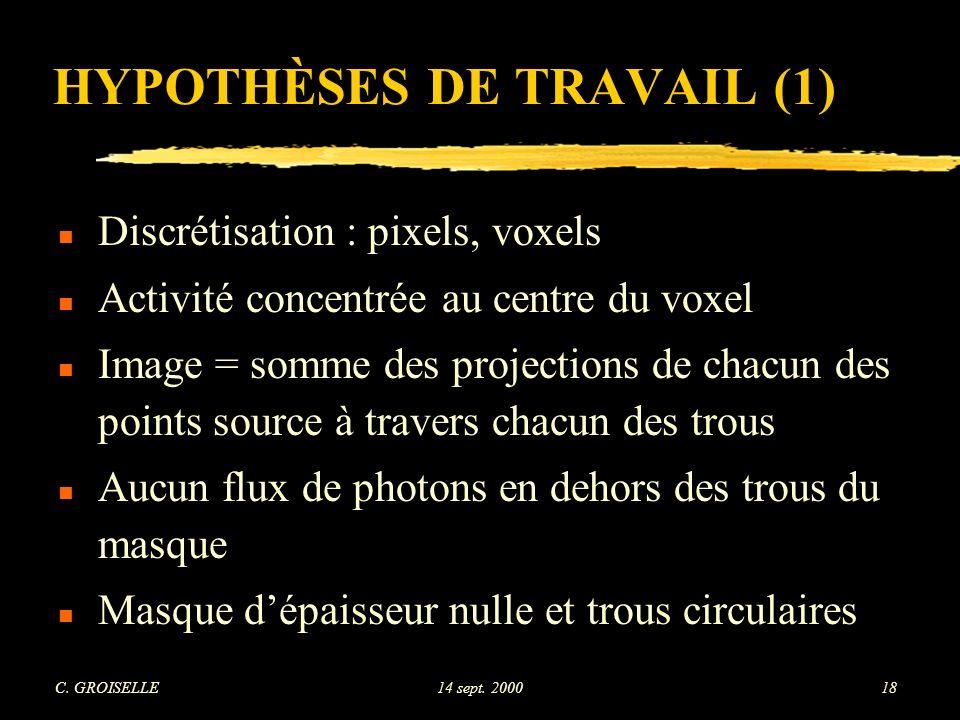 HYPOTHÈSES DE TRAVAIL (1)