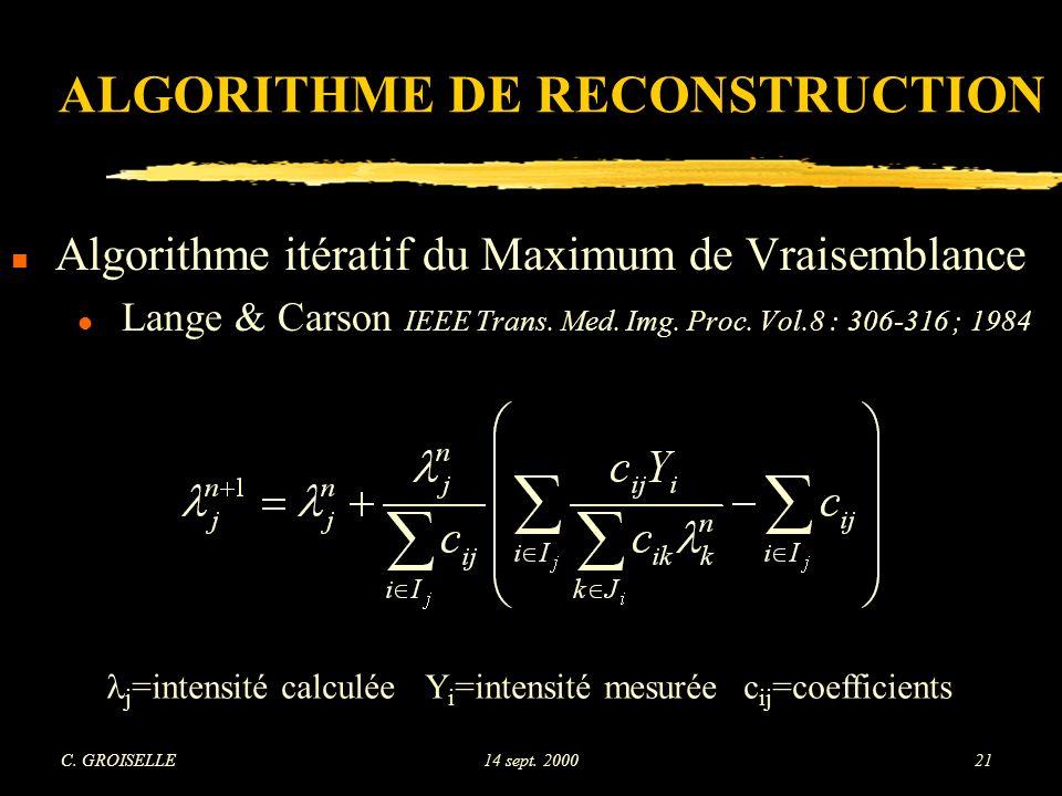 ALGORITHME DE RECONSTRUCTION