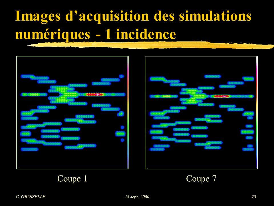 Images d'acquisition des simulations numériques - 1 incidence