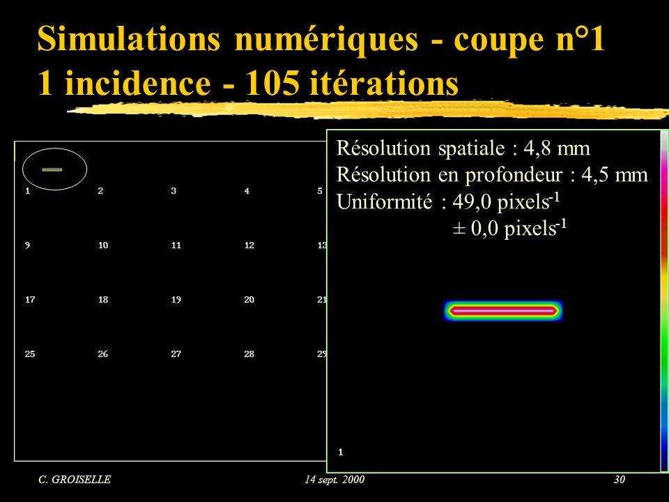 Simulations numériques - coupe n°1 1 incidence - 105 itérations
