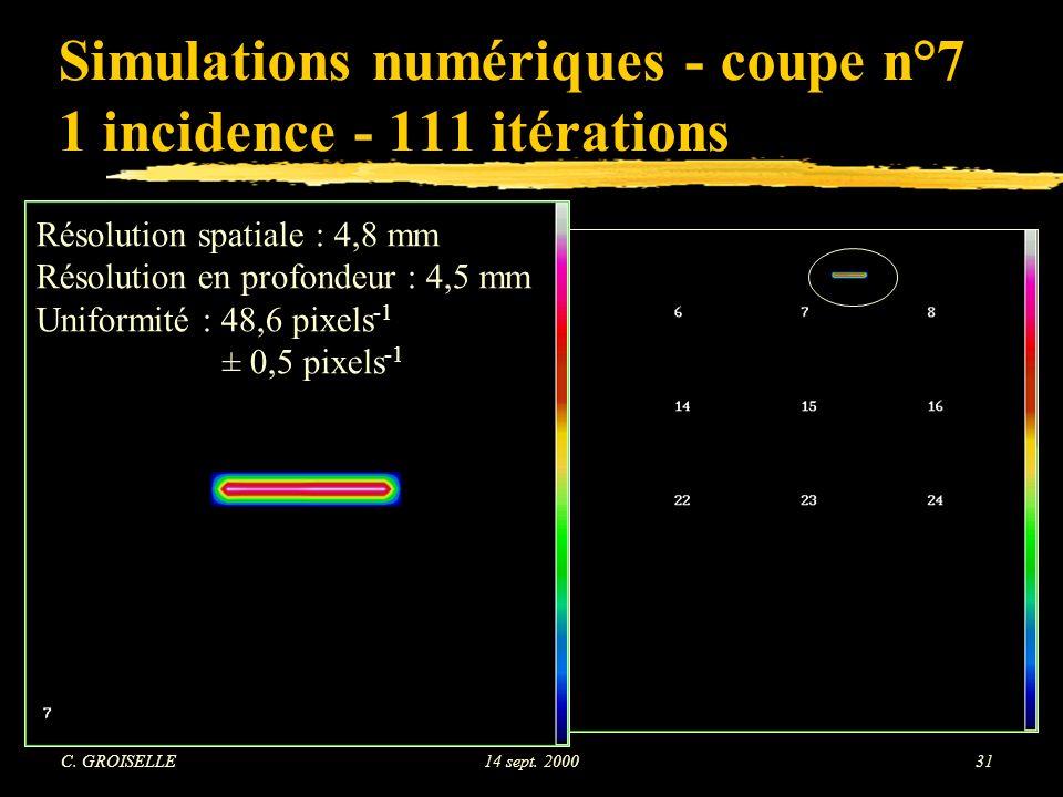 Simulations numériques - coupe n°7 1 incidence - 111 itérations