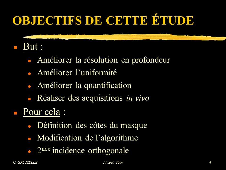 OBJECTIFS DE CETTE ÉTUDE